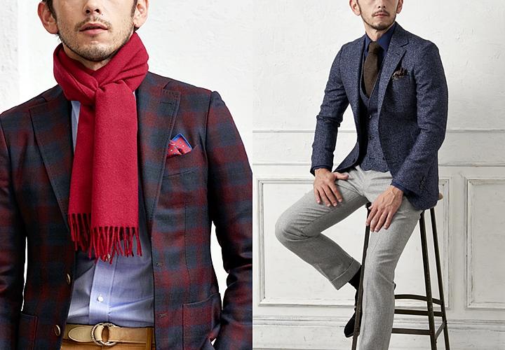 秋冬のジャケットスタイル、ダーク系カラーと小物使い