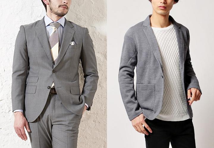 グレースーツスタイルと、グレーテーラードジャケットスタイル