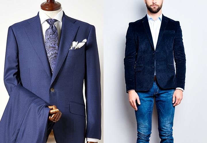 セットアップのジャケットとデニムパンツの合わせ