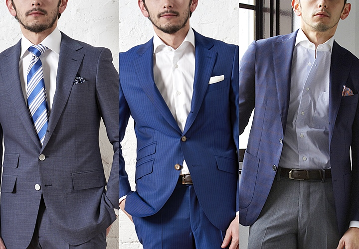 夏用のスーツ:ネイビーカラー×ノーネクタイ