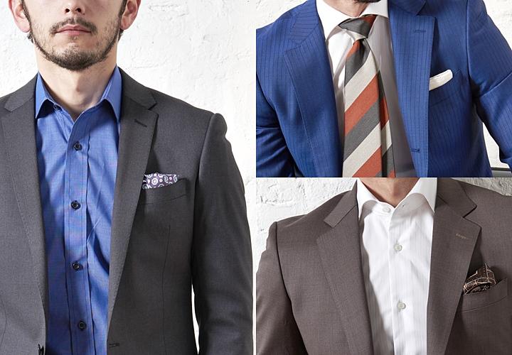 ノーネクタイスタイルは、ラペルの幅が狭いと良い