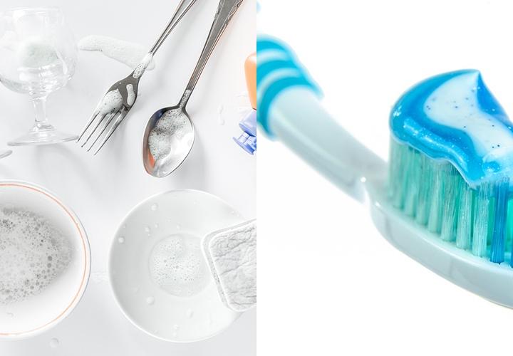 台所用洗剤・酸素系漂白剤と歯ブラシ