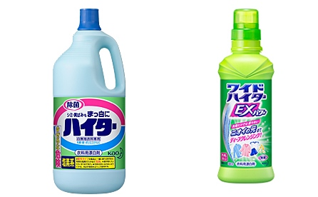 左:塩素系漂白剤 右:酸素系漂白剤