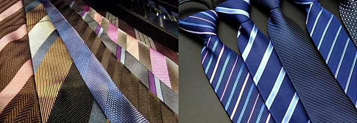 (左)天然素材・シルクのネクタイ(右)化学繊維のネクタイ