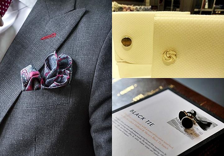 結婚式二次会は小物で華やかに!ポケットチーフ&カフス
