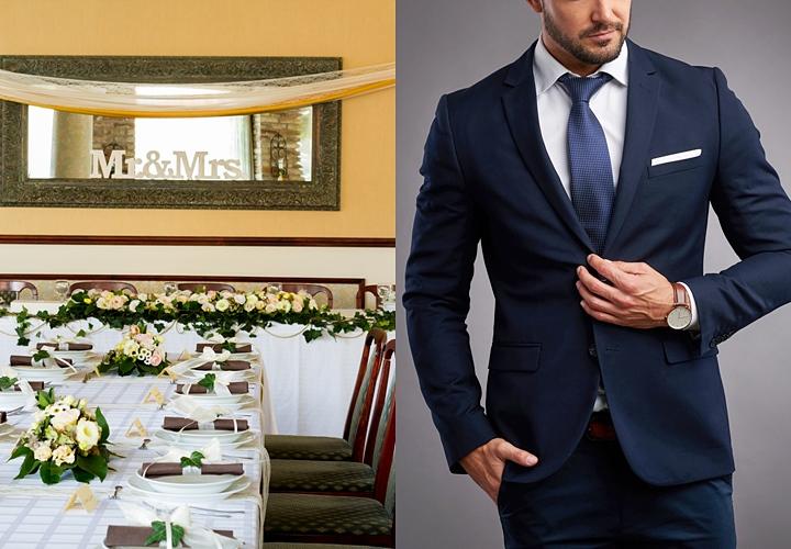 会場に合わせた結婚式の二次会の服装 フォーマル:ダーク系のスーツに白のワイシャツ