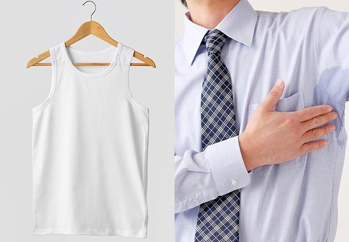 タンクトップやノースリーブは、ワイシャツに汗染みができやすいため避ける