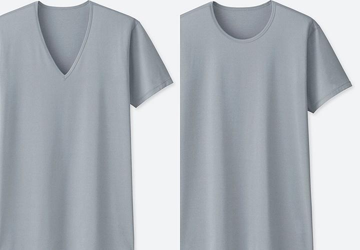 インナー2つのデザイン:①Vネック ②丸首(Uネック)
