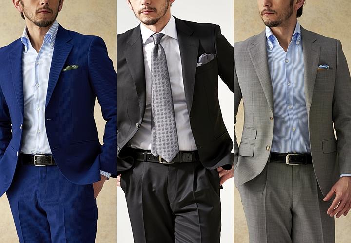 ビジネスシャツ,ネイビー&ブラック&グレースーツと合わせたシャツ,ノーネクタイ