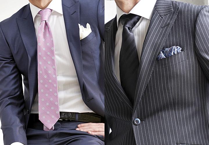 ビジネスシャツ,ワイドカラーシャツのスーツ着こなし