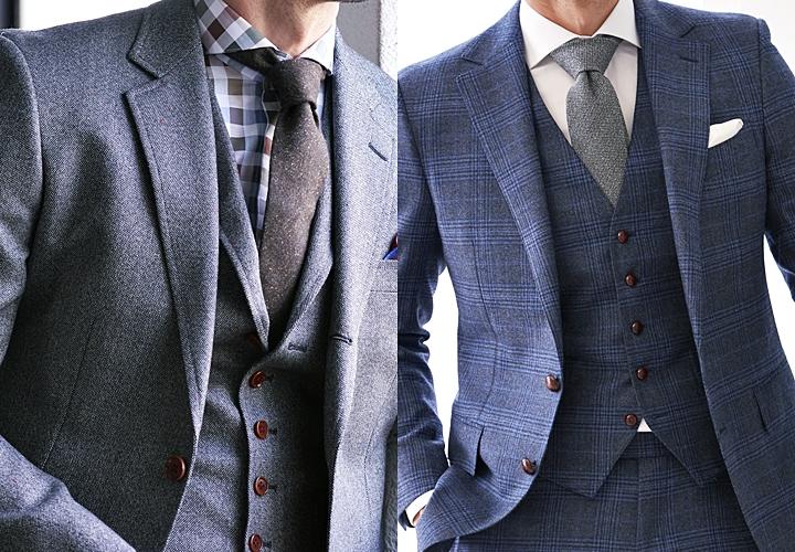 ビジネスシャツ,ホリゾンタルカラーシャツのスーツ着こなし
