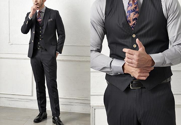 フォーマルシーン ブラックスーツ×ベルトのスタイル