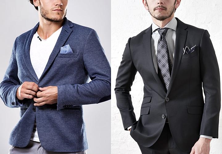 カジュアルなジャケットとブラックスーツ