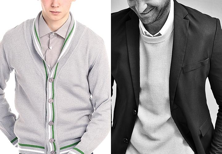 ジャケットのインナー カーディガンやセーター