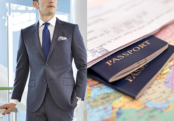 スーツの持ち運び,出張,パスポート
