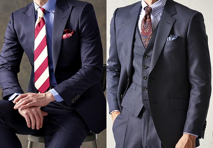 ネイビースーツ,青シャツ・ストライプシャツ