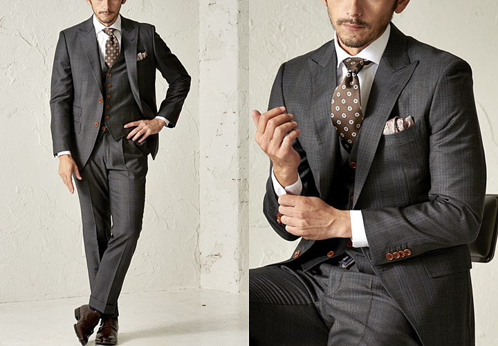 英国紳士のスーツ,エンパイア・ミルズで仕立てたチェック柄のグレースーツ