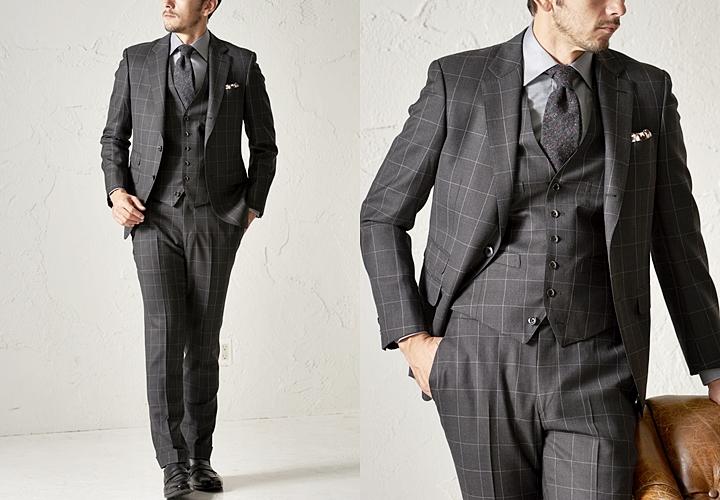 英国紳士のスーツ,ジョン・フォスターで仕立てたチェック柄のグレースーツ