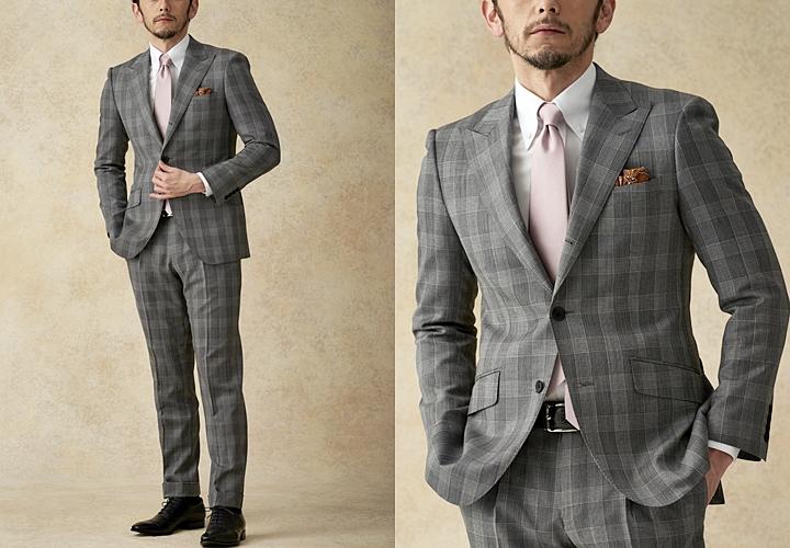 英国紳士のスーツ,サヴィル・クリフォードの生地で仕立てたチェック柄のグレースーツ
