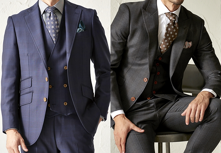 英国紳士,チェック柄スーツ,ネイビー,グレー