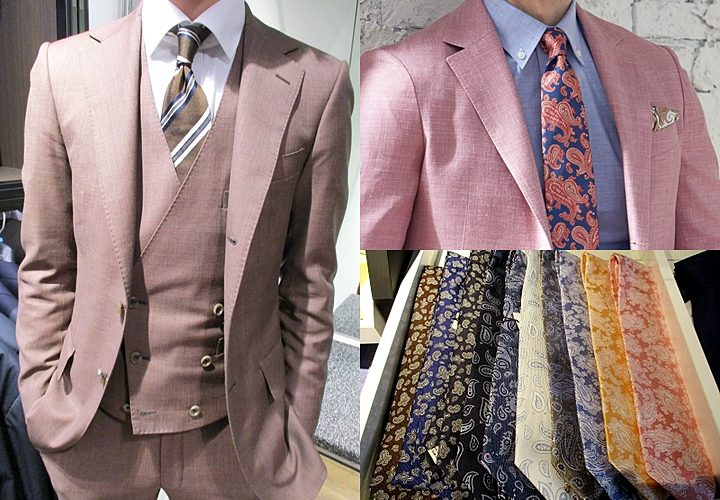ピンクスーツ,合わせるネクタイ,ストライプ,小紋柄