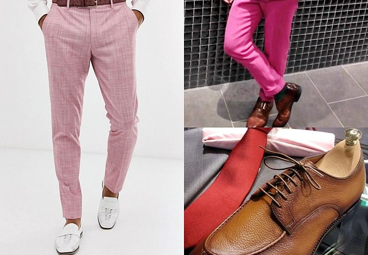 ピンクスーツ,合わせる靴,ブラウン