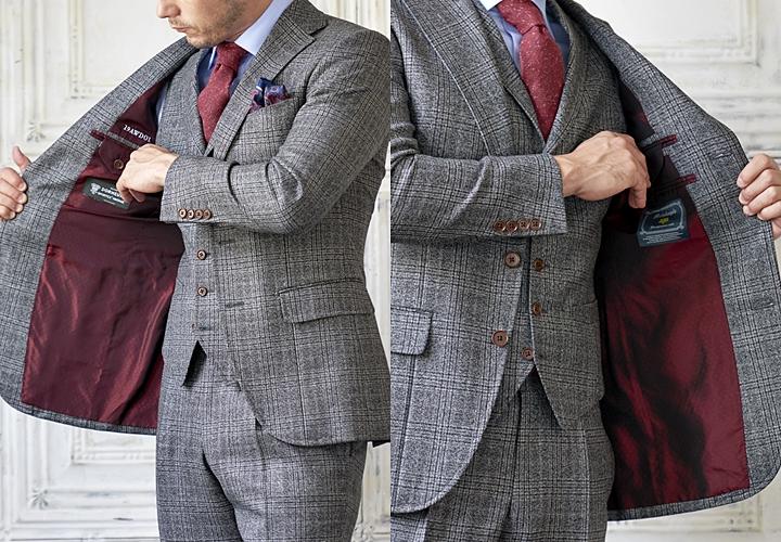 スーツの裏地,スーツカラー,チェック柄のグレースーツ,ワイン