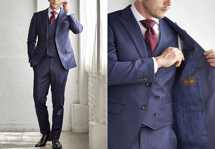 スーツの裏地,ネイビースーツ×ブルー無地