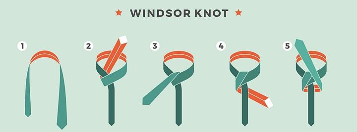 ウィンザーノットの結び方,結び方の手順