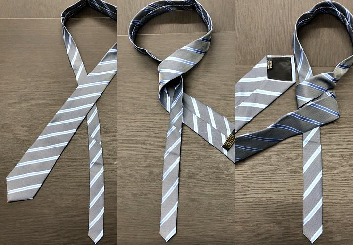 ネクタイの結び方,プレーンノットの結び方手順