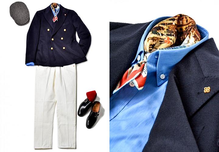 紺ブレ,トレンド,フレンチトラッド×紺ブレトレンドスタイリング,白パン,スカーフ