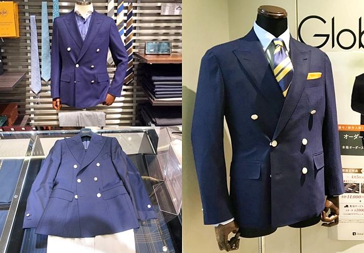 紺ブレ,メタルボタンにダブルデザインの紺ブレスタイル