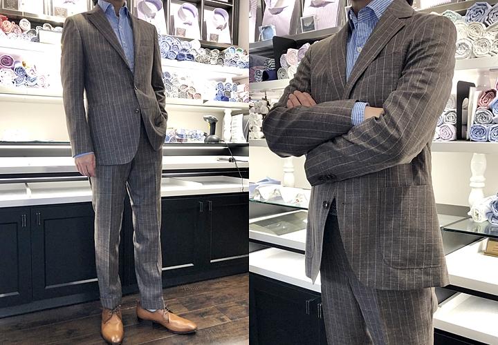 セットアップ・スーツ,ブラウンストライプのセットアップ