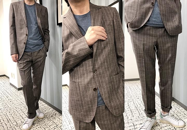セットアップ・スーツ,ブラウンストライプのカジュアルスタイル,休日