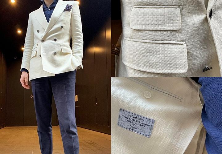 リネン素材,ホワイトジャケットコーディネート,ダブル