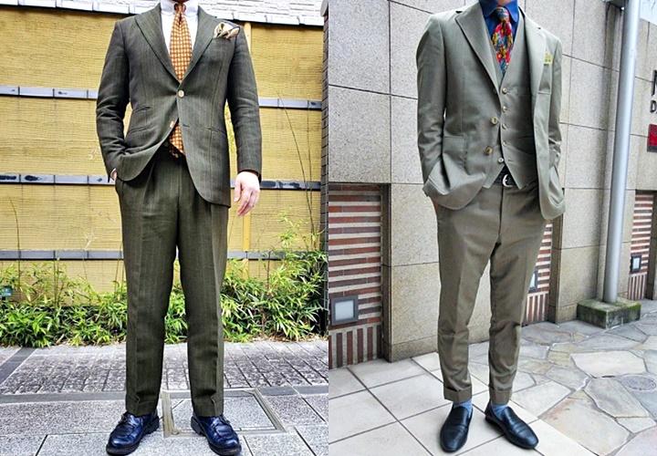カーキ(グリーン)スーツ×ブラックシューズコーディネート