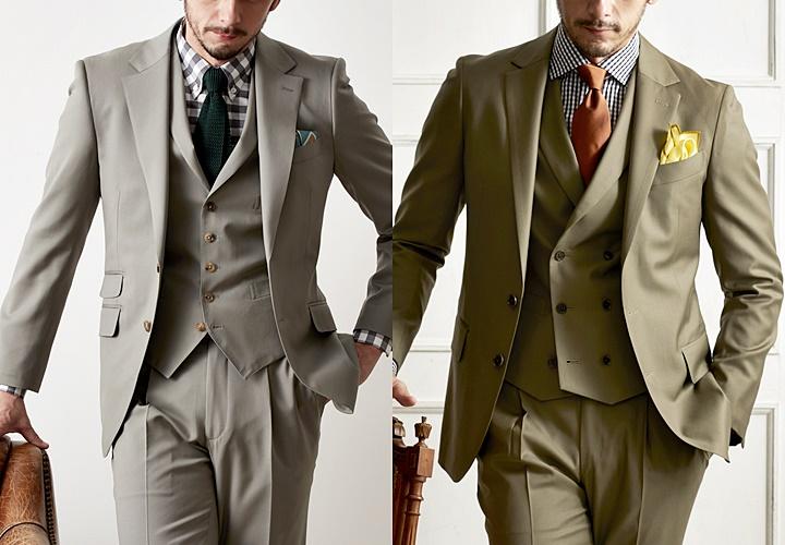 カーキスーツ×シャツ,ブラックやグレーの組み合わせ
