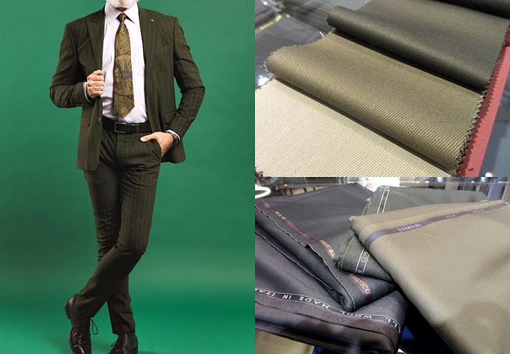 カーキ(グリーン)スーツ,オシャレでモダンな印象