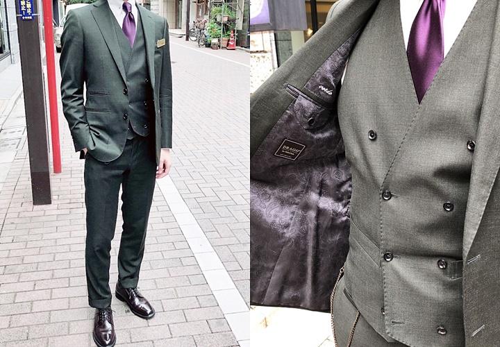 カーキ(グリーン)スーツ×スリーピーススーツ