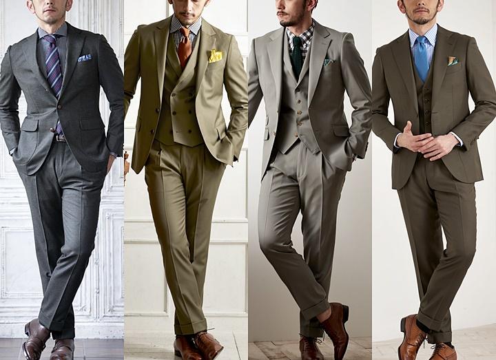 カーキ(グリーン)スーツのおしゃれな着こなし方~ネクタイ・シャツ・靴のコーディネート~
