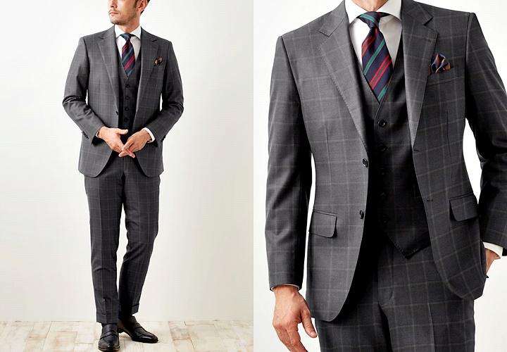 スーツとセーターのコーディネート,ドレスカジュアルスタイル,グレーチェックスーツ