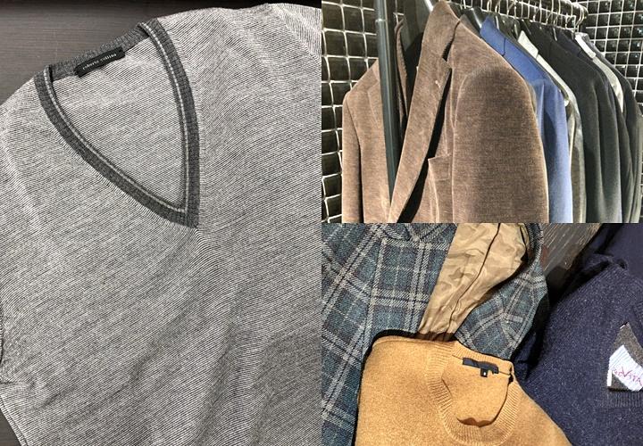 スーツとセーターのコーディネート,ニットアイテム