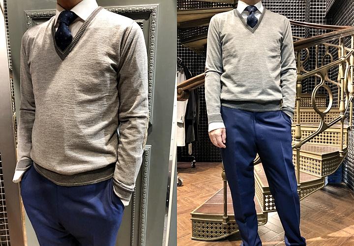 スーツとセーターのコーディネート,ネイビースーツ,Vネックセーター