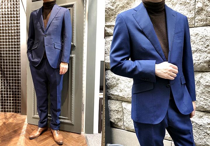 スーツとセーターのコーディネート,ネイビースーツ,タートルネック