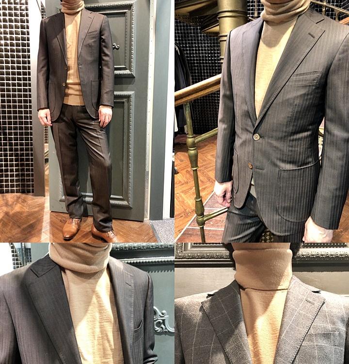 スーツとセーターのコーディネート,ブラウンスーツ,タートルネックセーター