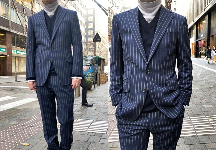 スーツとセーターのコーディネート,ネイビーフランネルスーツ,Vネックセーター