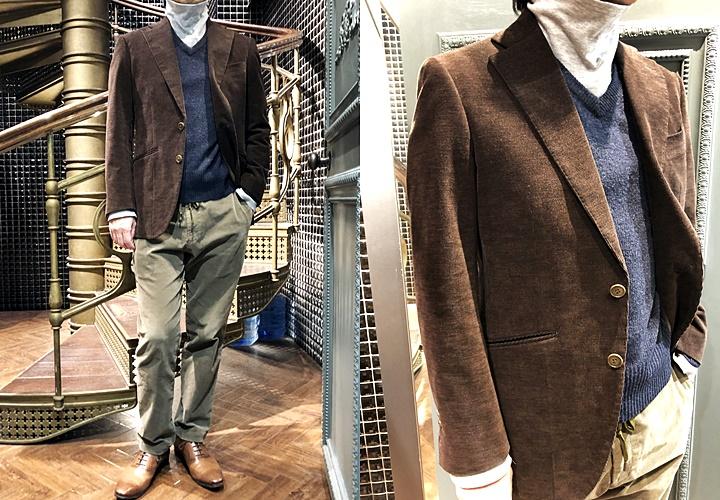 スーツとセーターのコーディネート,コーデュロイスーツ,Vネックセーター