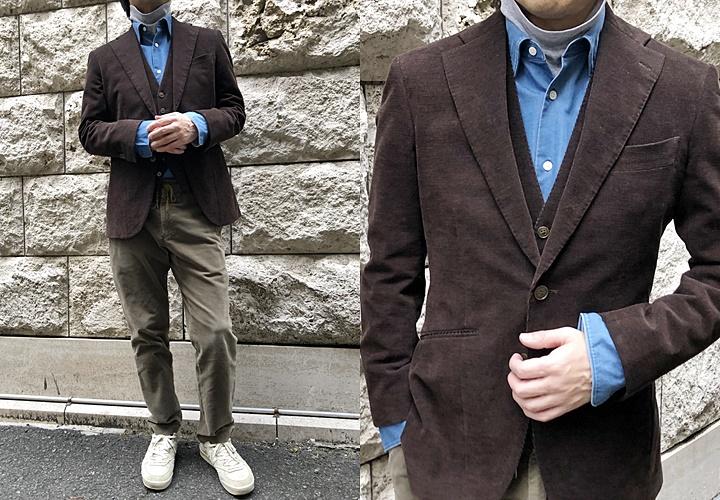 スーツとセーターのコーディネートコーデュロイ,グレーニットソー×青シャツ