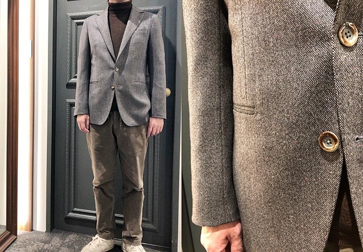 ジャケットとセーターのコーディネート,ツイード×タートルニットソー