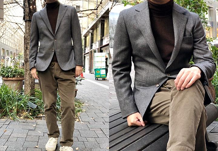 ジャケットとセーターのコーディネート,ツイード×ブラウンセーター